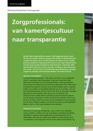 Zorgprofessionals: van kamertjescultuur naar transparantie