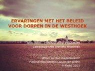 Ervaringen met het beleid voor dorpen in de Westhoek. Bern Paret ...