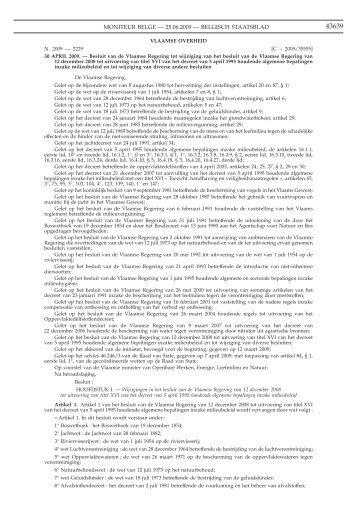besluit van de Vlaamse Regering van 30 april 2009