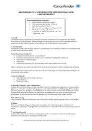 Anvisningar för stipendium 2013 - Cancerfonden