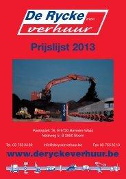 Klik hier om onze prijslijst/catalogus 2013 te bekijken. - De Rycke ...