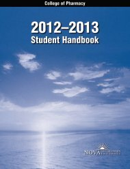 Student Handbook - College of Pharmacy - Nova Southeastern ...