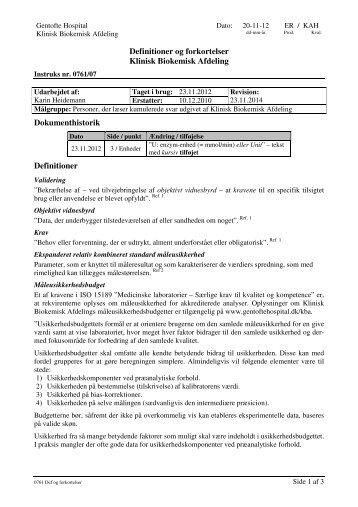 Definitioner og forkortelser Klinisk Biokemisk ... - Gentofte Hospital