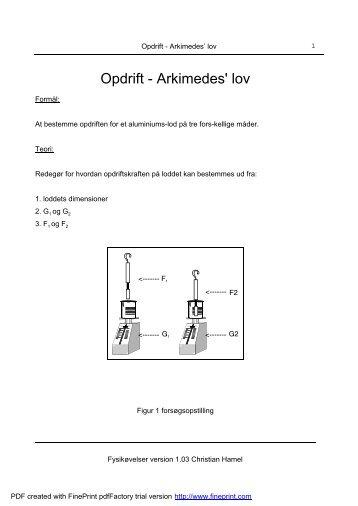 Opdrift - Arkimedes' lov - Hamel.dk