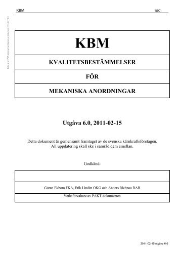 Kvalitetsbestämmelser för mekaniska anordningar ... - Vattenfall