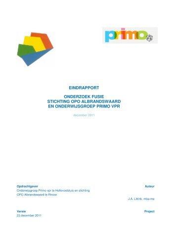 eindrapport onderzoek fusie stichting opo albrandswaard ... - CBOO