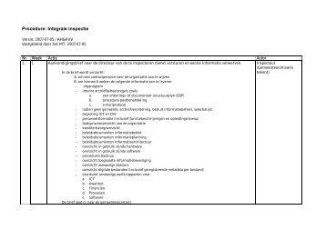 Procedure: Integrale inspectie - Het Utrechts Archief