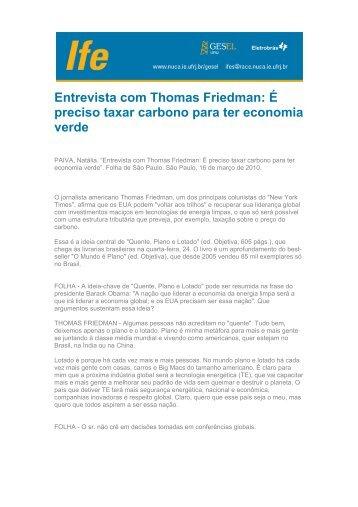 Entrevista com Thomas Friedman: É preciso taxar carbono ... - UFRJ