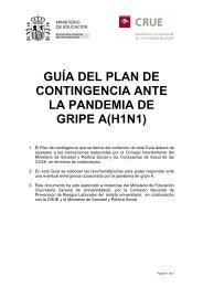 Guía del Plan de Contingencia ante la Gripe A - CRUE