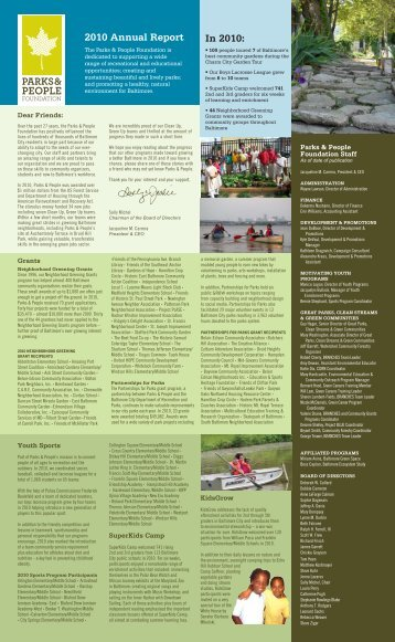 2010 Annual Report In 2010: - Parks & People Foundation