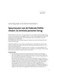 Jaarverslag Hondensteun 2006 - Federale politie