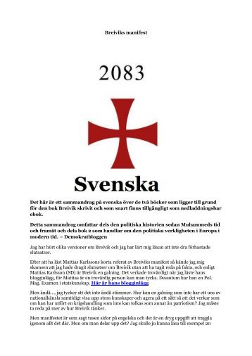 Breiviks manifest - Svenska - PR-publishing