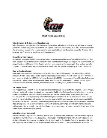 LCDS Head Coach Bios - Lancaster Country Day School