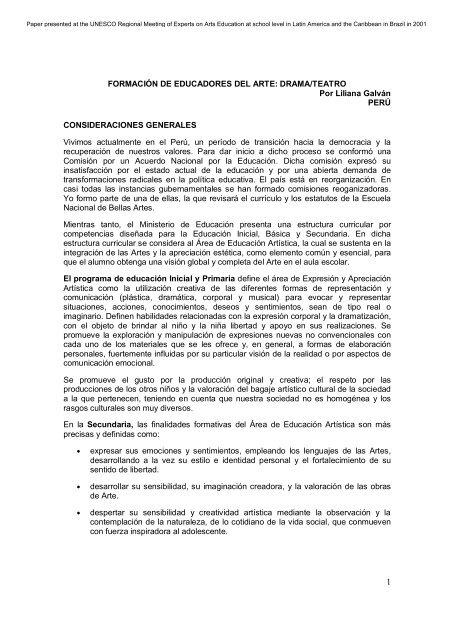 Formación De Educadores Del Arte Drama Teatro Unesco