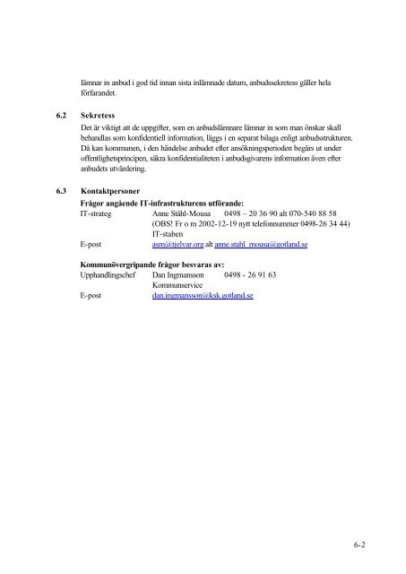 Upphandling i Gotlands kommun Etablering och drift av en ...