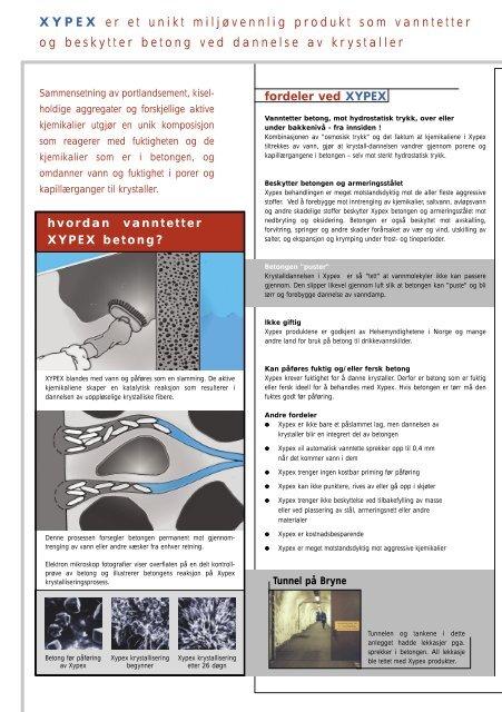 Xypex brosjyre vanntetting, beskyttelse og rehabilitering av betong