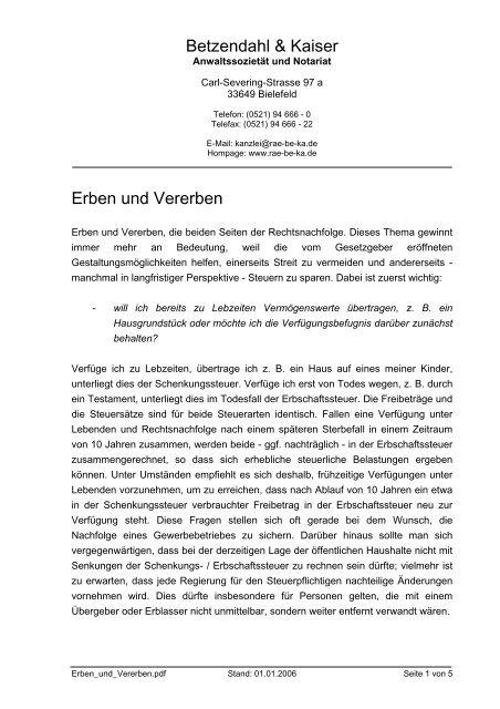 INFO: Erben und Vererben - Rechtsanwalt Bielefeld