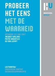 probeer het eens met de waarheid - Onderzoek - Hogeschool Utrecht