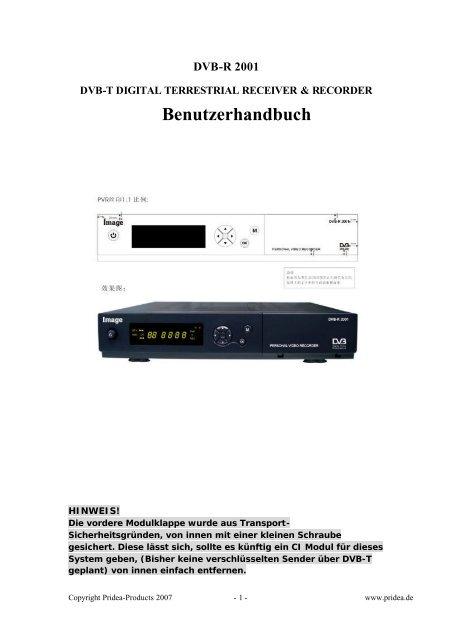 DVB-T DIGITAL TERRESTRIAL RECEIVER & RECORDER ... - Pridea