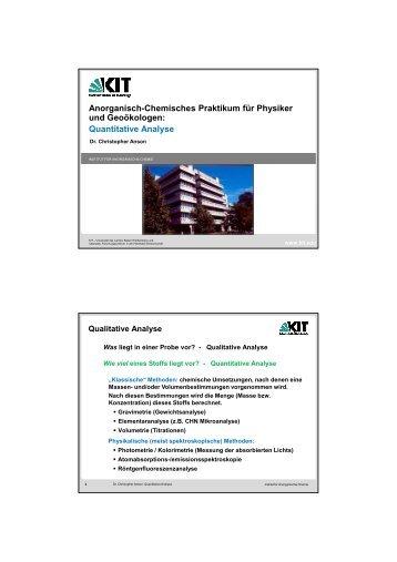 Quantitative Analyse - am Institut für Anorganische Chemie - KIT