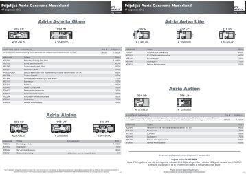 Adria Caravans Prijslijst 2013