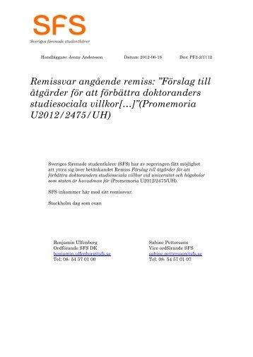"""Remissvar angående remiss: """"Förslag till åtgärder för att förbättra ..."""