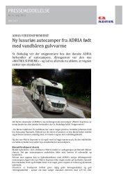 Ny luxuriøs autocamper fra ADRIA født med vandbåren gulvvarme