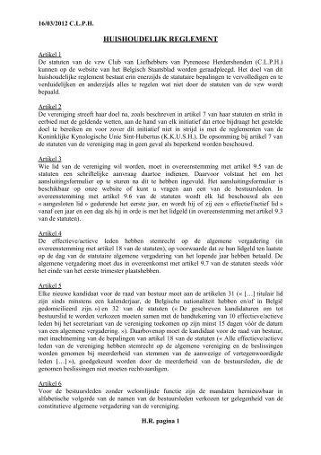 HUISHOUDELIJK REGLEMENT - Pyreneese Herdershond