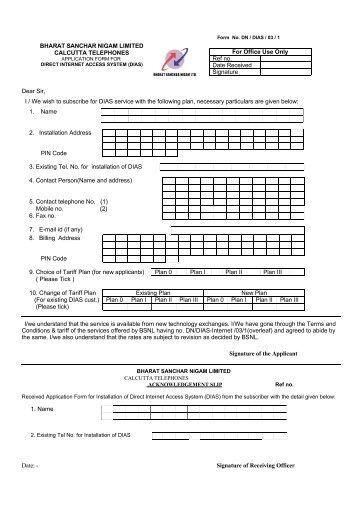 Application form - Calcutta Telephones