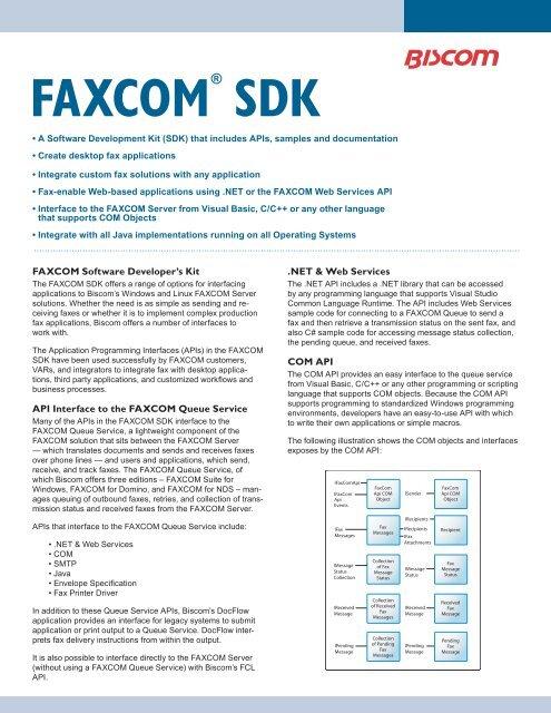 FAXCOM SDK v3 0 indd - Biscom