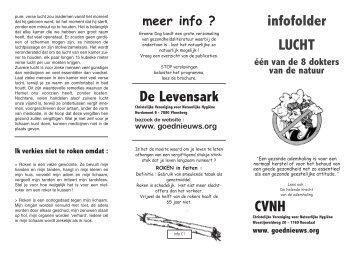De Levensark infofolder LUCHT CVNH - Goed Nieuws brief