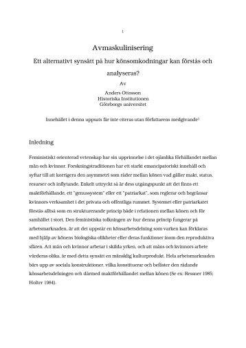 Anders Ottosson, Avmaskulinisering: Ett alternativt synsätt på hur ...