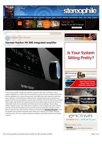 Harman Kardon HK 990 integrated amplifier - Quality & Performance