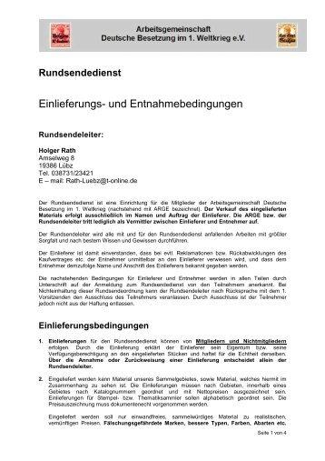 Einlieferungs- und Entnahmebedingungen - Deutsche Besetzung im ...