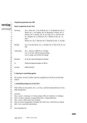 verslag GMR-vergadering 29-06-2011