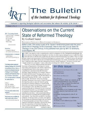 continued from page 1 - the Institute for Reformed Theology Website