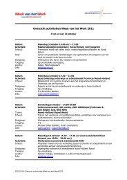 Overzicht activiteiten Week van het Werk 2011 - Regionaal Platform ...