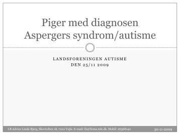 Piger med diagnosen Aspergers syndrom/autisme