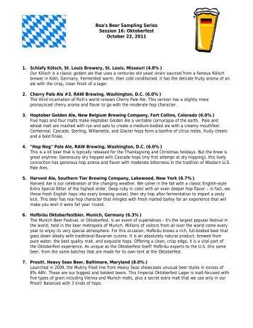 Oktoberfest 2011 Beer Tasting Menu - Boa Beer Blog
