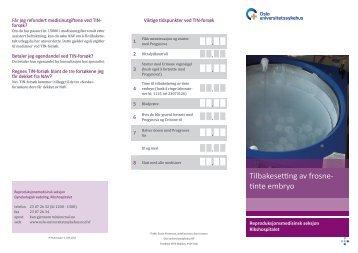 Tilbakesetting av frosne- tinte embryo - Oslo universitetssykehus