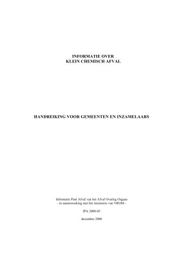 informatie over klein chemisch afval handreiking voor gemeenten en ...