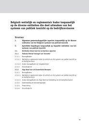 Belgisch wettelijk en reglementair kader toepasselijk op de diverse ...