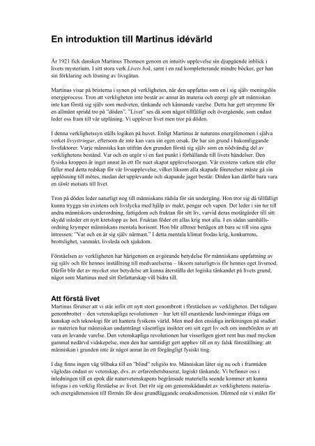 En introduktion till Martinus idévärld – 3 sid - Världsbild förlag