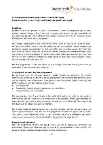 Achtergrondinformatie Kracht van Sport.pdf - Oranje Fonds