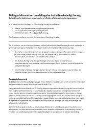 Deltagerinformation om deltagelse i et videnskabeligt forsøg