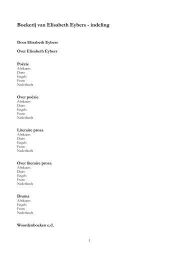 Katalogus Eybers-kamer Zuid-Afrikahuis