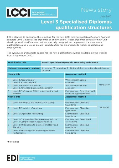 Level 3 Specialised Diplomas Qualification Structures LCCI