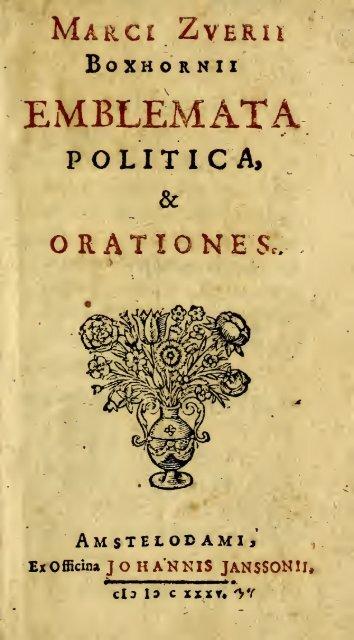 Emblemata politica & Orationes. Ex officina