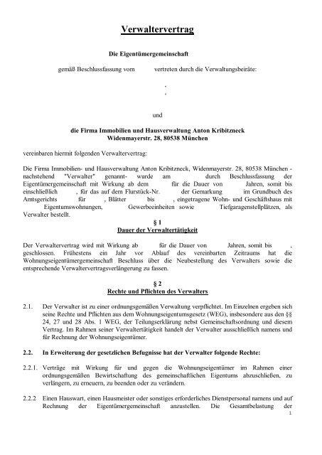 Verwaltervertrag Hausverwaltung A Kribitzneck