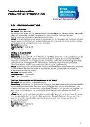 Cursusbeschrijving - Titus Brandsma Instituut